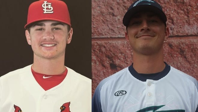 Jacob Schlesener (left) is a pitcher in the St. Louis Cardinals organization. His brother Ethan Schlesener (right) is a catcher for the Cobras of Ozark's Show Me Collegiate League.