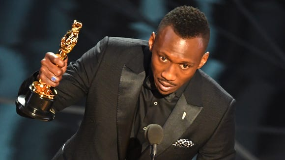 Mahershala Ali wins the Oscar for best supporting actor at the Academy Awards on Feb. 26, 2017,  in Hollywood, Calif.