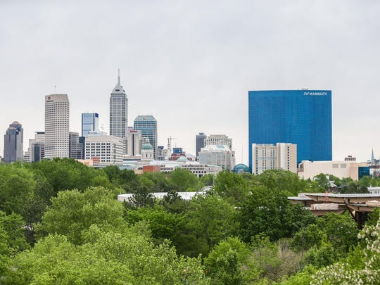 Downtown Indianapolis skyline view from the Indianapolis Zoo, May 3, 2017.
