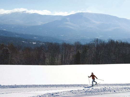 A lone skier on a trail at the Trapp Family Lodge in Stowe.