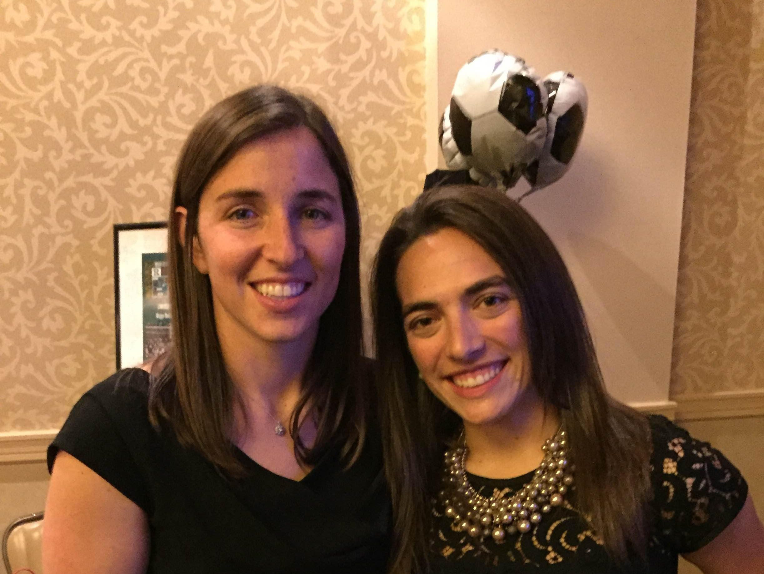 Ridge head girls soccer coach Katie Donahue (left, with assistant Jessica Musumeci) is the 2015 Courier News Girls Soccer Coach of the Year