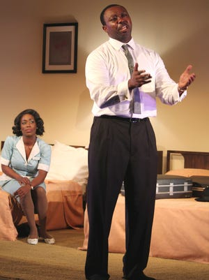 "Jamil Mangan and Felicia Curry star in Gulfshore Playhouse's Martin Luther King Jr. drama, ""The Mountaintop."""