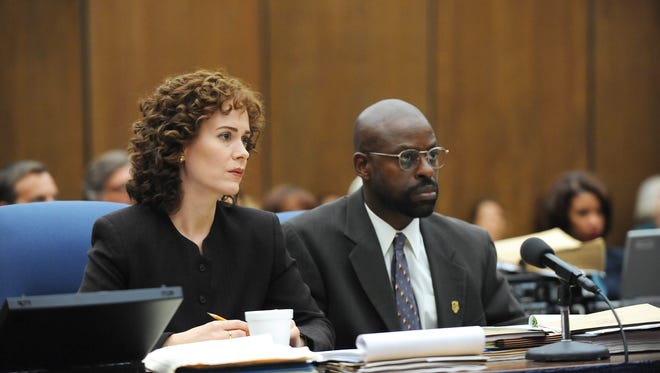 Prosecutors Marcia Clark (Sarah Paulson) and Christopher Darden (Sterling K. Brown) sit in court during 'The People v. O.J. Simpson: American Crime Story.'