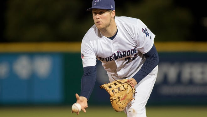 Pensacola Blue Wahoos first baseman Gavin LaValley hit a grand slam in Wednesday night's 9-5 win over the Mississippi Braves in Pensacola.