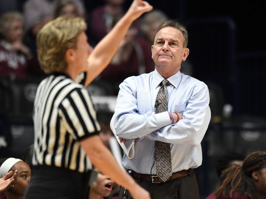 Mar 4, 2018; Nashville, TN, USA; Mississippi State Lady Bulldogs head coach Vic Schaefer reacts after a call in the game against the South Carolina Gamecocks during the first half of the SEC Conference Tournament championship game at Bridgestone Arena. Mandatory Credit: Christopher Hanewinckel-USA TODAY Sports