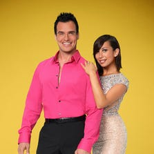 "DANCING WITH THE STARS - ANTONIO SABATO JR. & CHERYL BURKE - The stars grace the ballroom floor for the first time on live national television with their professional partners during the two-hour season premiere of ""Dancing with the Stars,"" which airs MONDAY, SEPTEMBER 15 (8:00-10:01 p.m., ET) on the ABC Television Network. One couple will be eliminated on the ""Dancing with the Stars"" results show the following day, on TUESDAY, SEPTEMBER 16 (8:00-9:00 p.m., ET). Actor, fitness and auto-racing enthusiast and accomplished author, Antonio Sabato Jr. partners with Cheryl Burke.  (ABC/Craig Sjodin)  [Via MerlinFTP Drop]"