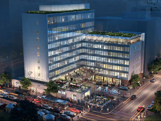 """Beitler Real Estate Services, LLC. has proposed building a hotel across the street from the state Capitol at the site of Lansing's former City Hall. The plans include an observation deck and a """"green roof,"""" which is a roof partly covered by plants for greater energy efficiency."""