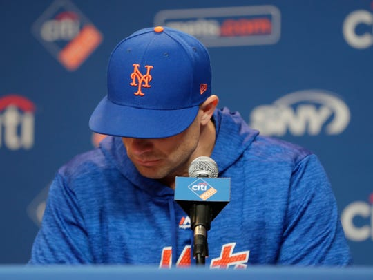 New York Mets third baseman David Wright pauses while speaking during a news conference before a baseball game against the Miami Marlins, Thursday, Sept. 13, 2018, in New York. (AP Photo/Frank Franklin II)