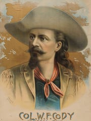 An 1887 poster shows Buffalo Bill Cody during his prime. The poster is part of the collection at the Buffalo Bill Museum at Golden, Colorado.