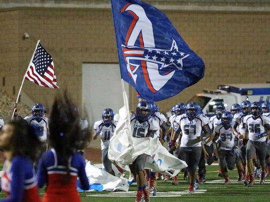 The Americas Trail Blazers take the field against the El Dorado Aztecs Friday night at the Socorro Activities Complex.