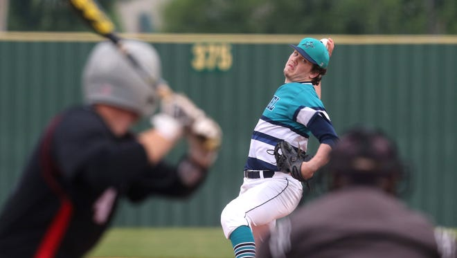 Siegel's John Ross Langworthy delivers a pitch in the Stars' 5-0 win over Stewarts Creek. Langworthy gave up two hits in the win.