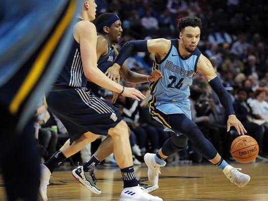 Memphis Grizzlies Dillon Brooks (24) drives cross court