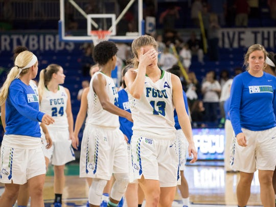 Jordin Alexander of Florida Gulf Coast University (13) walks off the court after the team lost in overtime to Stetson at FGCU Saturday night, February 24, 2017.