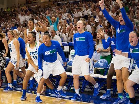 The Florida Gulf Coast University bench explodes as the team takes the lead in the final minutes of regulation of the game against Stetson at FGCU Saturday night, February 24, 2017. FGCU lost in overtime.