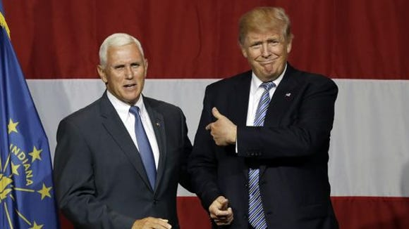 Indiana Gov. Mike Pence, left, has cancelled his speech
