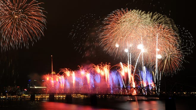 Fireworks light up the Louisville sky during Thunder over Louisville on Saturday. Apr., 21, 2012