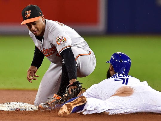 Toronto Blue Jays' Richard Urena (7) is tagged out by Baltimore Orioles second baseman Jonathan Schoop while trying to stretch a single into a double during the eighth inning of a baseball game Tuesday, Sept. 12, 2017, in Toronto. (Frank Gunn/The Canadian Press via AP)