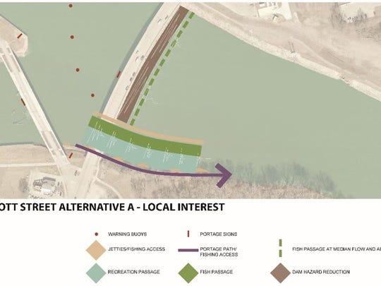 Scott Avenue dam option A.