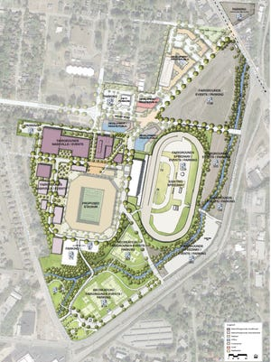 A rendering shows the location of a mix-use development near Nashville's proposed MLS stadium at The Fairgrounds Nashville.