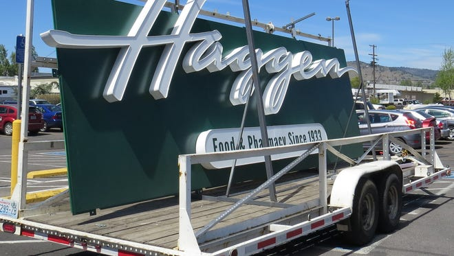 Haggen sign in front of what was Safeway on South Sixth Street in Klamath Falls.