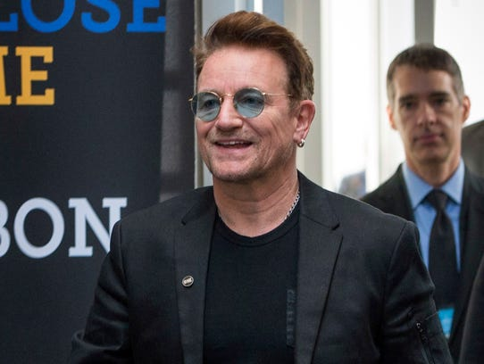 Bono arrives at the Global Fund conference Sept. 17,