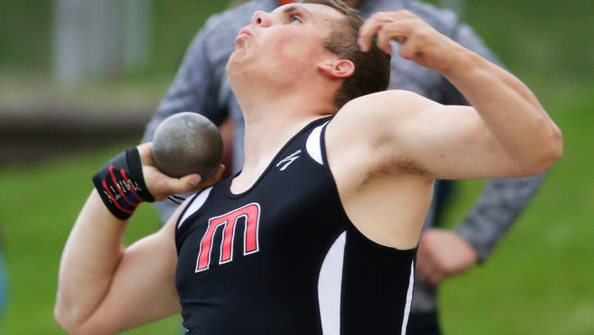 Manitowoc's Connor Wigand Thursday May 25, 2017 at the West Bend sectionals at West High School in West Bend, Wis.