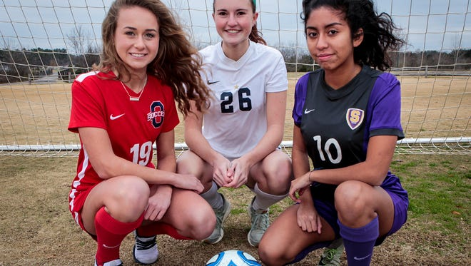 The DNJ's All-Area Girls Soccer Player of the Year finalists are (l-r) Oakland's Katie Webb, Siegel's Janie Hopper and Smyrna's Ashley Barrientos.