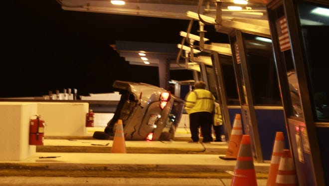 A 47-year-old Maryland man was injured when he crashed at a Del. 1 toll booth.