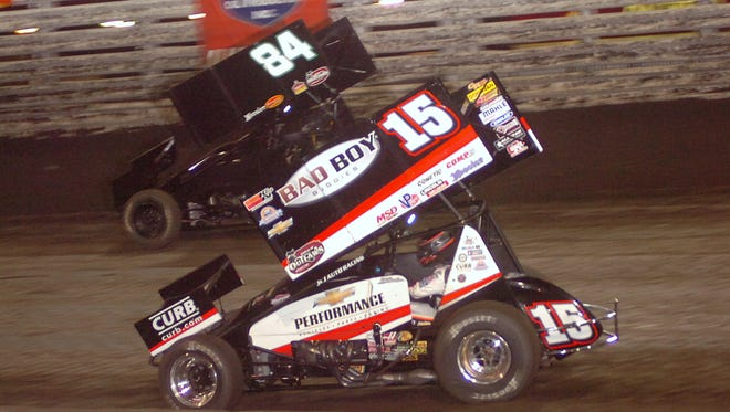 Eight-time Knoxville Nationals champion Donny Schatz (15) topped the points chart Wednesday.