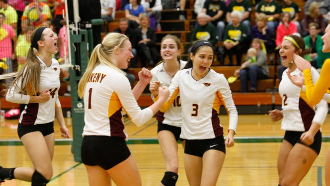 Ankeny's Elise Blatt (3) celebrates with her teammates after the Hawkettes scored a point during their Class 5-A regional final on Nov. 3 at Cedar Rapids Kennedy. Ankeny closed out its season with a 25-16, 25-19, 25-23 loss to the ninth-ranked Cougars.