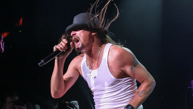 Kid Rock performs during the last of his ten sold-out shows at the DTE Energy Music Theatre on Saturday, August 22, 2015 in Clarkston.