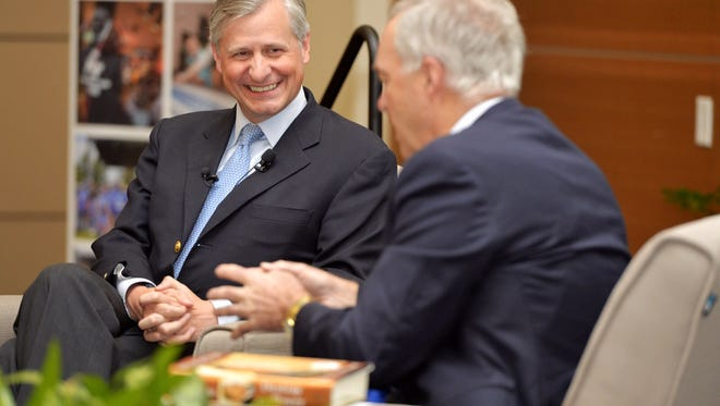 Author Jon Meacham, left, speaks with MTSU College of Media and Entertainment Dean Ken Paulson during an event at the university Tuesday.