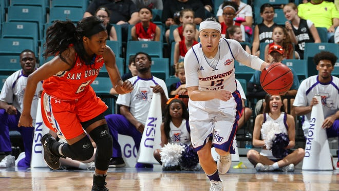 Janelle Perez (right) set a season-high with 30 points in Saturday's loss to Sam Houston State.
