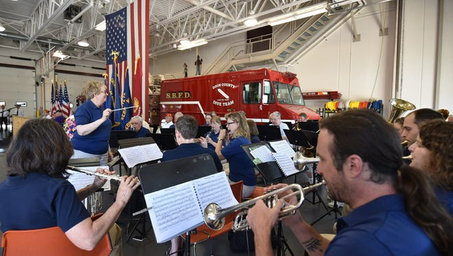 The Peninsula Symphonic Band played patriotic songs prior to a Memorial Day ceremony in 2016 in Door County.