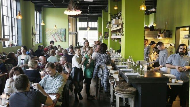 The restaurant Chartreuse Kitchen & Cocktails inside the Park Shelton in Detroit.
