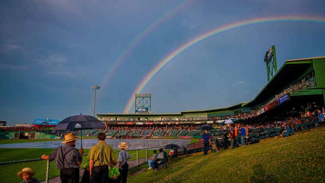 It's the calm after the storm, as a rainbow appears over Clipper Magazine Stadium in Lancaster tonight. Severe storms earlier in the evening closed part of Route 30 in the city.