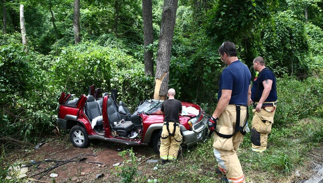 A woman was injured in a crash on Maple Grove Road in Berwick Township and trapped for about an hour on Saturday, July 16, 2016.