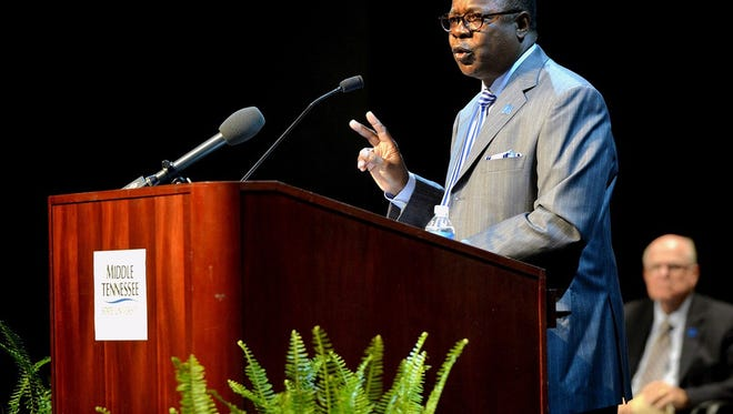 MTSU President Sidney A. McPhee addresses faculty and staff during the 2015 Fall Faculty Meeting at Tucker Theatre. This year's meeting will be held Thursday.