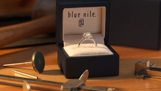 A Blue Nile diamond ring. Investors with Bain Capital Private Equity and Bow Street acquired the jeweler for $500 million on Monday, Nov. 7, 2016.