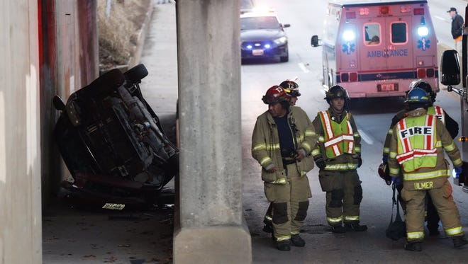 First responders on the scene of a crash Wednesday afternoon at National Avenue and Commercial Street.