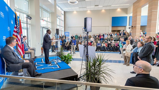 The crowd attending the Feb. 15 grand reopening ceremony for Davis Science Building and Wiser-Patten Science Hall in the Strobel Lobby listens as MTSU President Sidney A. McPhee shares about the completion of the work by Turner Construction Co.