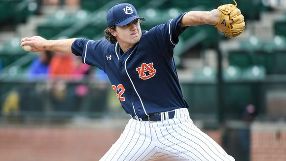 Casey Mize Auburn baseball vs George Washington on Saturday, Feb. 18, 2017 in Auburn, Ala.