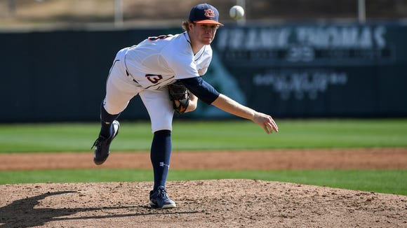 Auburn freshman pitcher Davis Daniel, a 2016 Montgomery Advertiser Pitcher of the Year, allows two runs in 4 1/3 innings Auburn baseball vs George Washington on Sunday, Feb. 19, 2017 in Auburn, Ala.