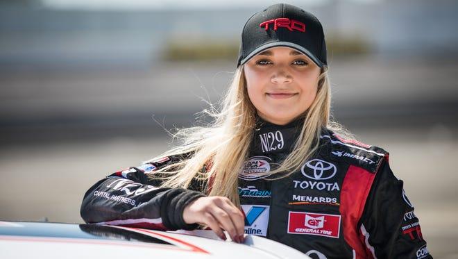 Natalie Decker is shown at her test with the Venturini Motorsports ARCA team at South Boston (Va.) Speedway.