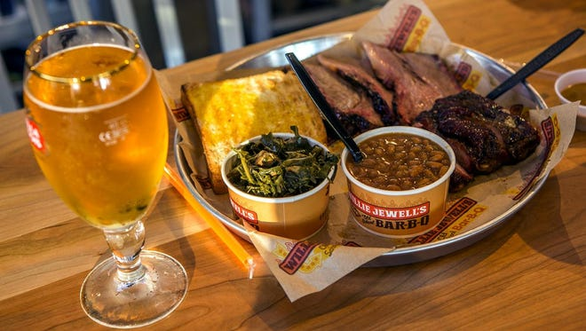 Willie Jewell's greens, toast, and brisket.