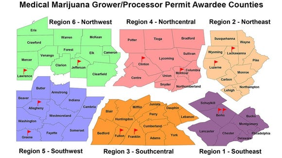 The Pennsylvania Department of Health handed out the state's first ever medical marijuana grower/processor permits.