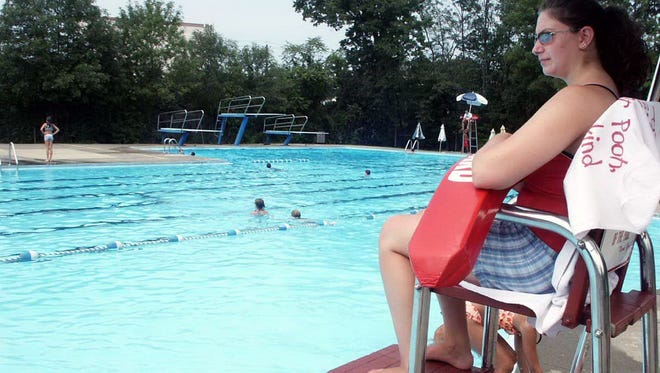 FILE PHOTO - Jessica Glastein keeps a watchful eye on swimmers at the Maywood pool.