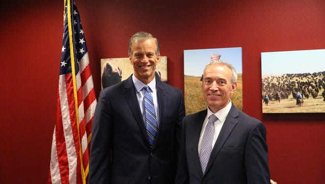 Sen. John Thune poses with Stephen Censky, who was nominated by President Trump to serve as deputy secretary of the USDA. The two men served on the staffs of former Sen. Jim Abdnor.