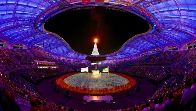The closing ceremonies of the 5th Asian Indoor and Martial Arts Games in Ashgabat, Turkmenistan. The Games came to a close on Sept. 27. These Games were the first time that nations from Oceania competed alongside the countries of the Olympic Council of Asia.