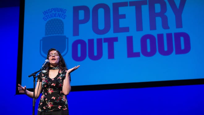 Nevada Poetry Out Loud champion Gabrielle Hunt of Yerington recites a poem in the 2017 National Finals in Washington, D.C.